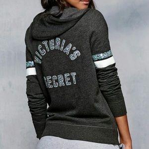 Victoria's Secret Sequin Hoodie Zip Up Sweatshirt